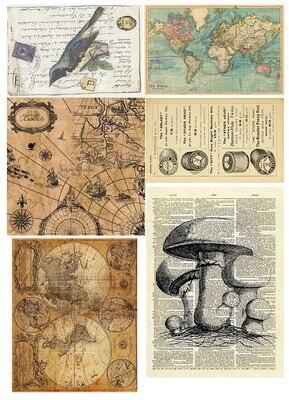 14 teile/paket Retro zeitung/karte handbuch material vintage Dekorative Aufkleber DIY Tagebuch Scrapbooking Aufkleber