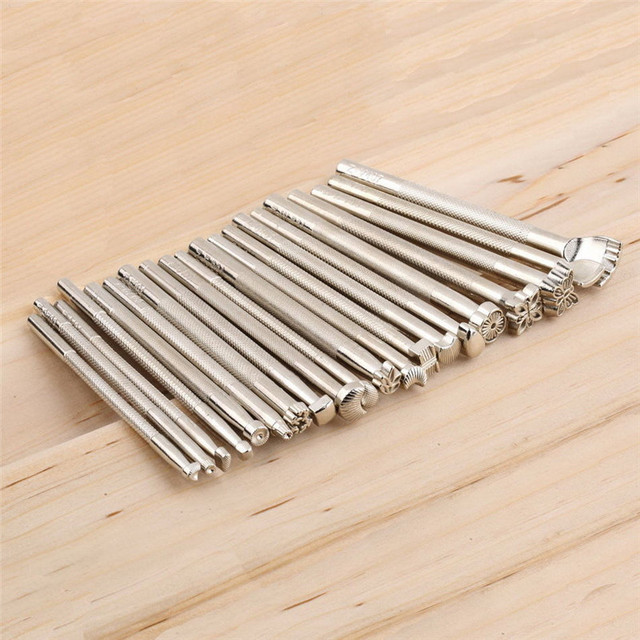 20pcs/Set Leather Working Saddle Making Tools Carving Leather Craft Stamps  WA130 T10