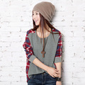 Fashion Women Long Sleeve T shirt O-neck Plaid Checked Stitch Casual Loose T-shirts Top pullover