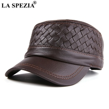 LA SPEZIA Mens Military Hats Brown Leather Army Caps Male Genuine Flat Cap Ivy Casual Adjustable Winter Warm Sailor Hat