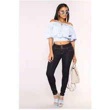 European and American new fashionable individual character is slim the recreational high waist sexy female type jeans