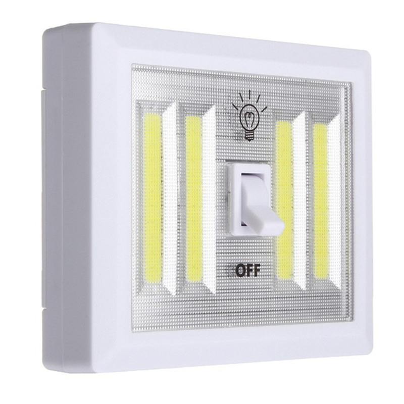 1pcs COB Wall Lamp Switch LED Battery Powered Garage Cabinet Closet Lamp Emergency Camping Night Lights