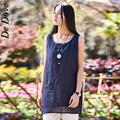De Dove 2016 new arrive cotton linen women all-match vest o-neck solid mid length loose ladies popular tank hot sale tops