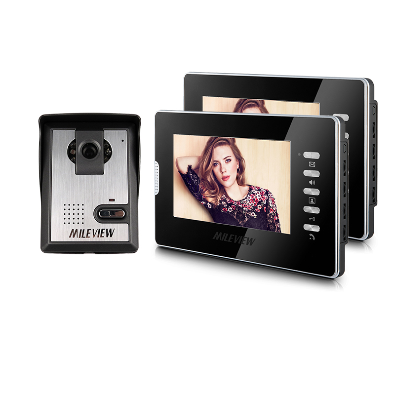 Brand New Wired 7 inch Home Color Video Door Phone Intercom System 2 Monitors + 1 Outdoor Doorbell Camera In Stock FREE SHIPPING free shipping touch key wired 7 inch color screen video intercom door phone system 3 monitors 1 outdoor bell camera in stock