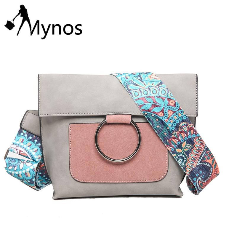 Mynos Bohemian Strap Women Crossbody Bag Metal Ring Shoulder Bag Suede Leather Messenger Bag Patchwork Purse