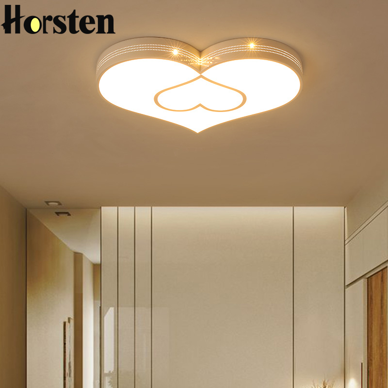 Simple Modern Love Heart Ceiling Lights Iron Acrylic Ceiling Lamp For Baby Room Girls Room Children's Bedroom White Red Lighting