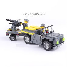 Transport truck Anti-Aircraft gun MOC UV-Printing Building Brick military weapon accessories DIY mini figures original toys gift(China)