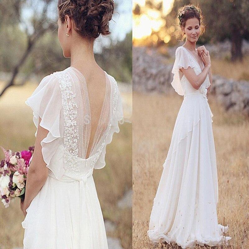 Bohemian Chiffon Wedding Dress