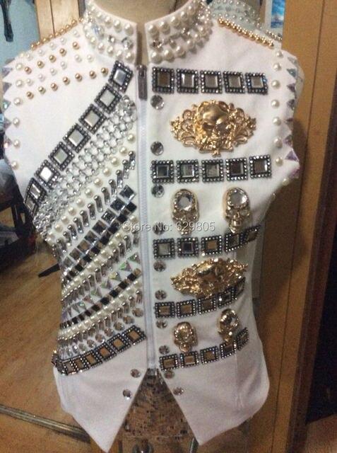 New fashion male costume rivets rhinestone beads jacket  singer dancer costume palace punk style jazz vest ds dj jacket