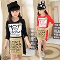 Девочки платье новинка лето полый печать вышивка платье детская одежда охраны окружающей среды лозунг платье