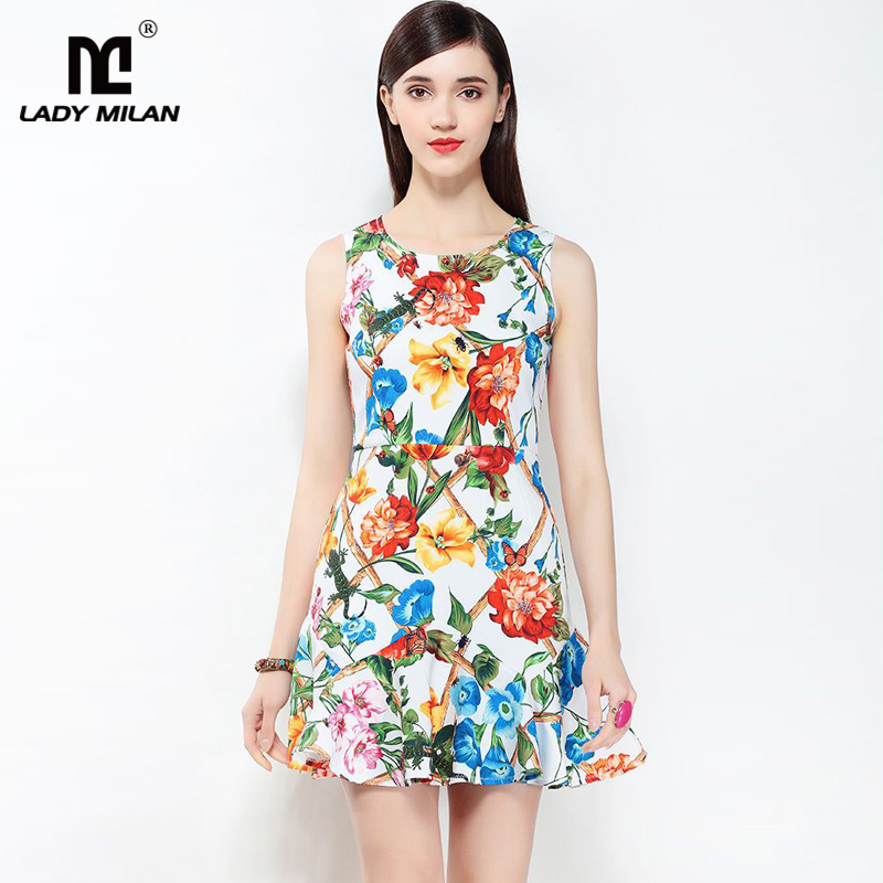 New Arrival 2018 Womens O Neck Sleeveless Flowers Printed Ruffles High Street Fashion Casual Summer Holiday Dresses