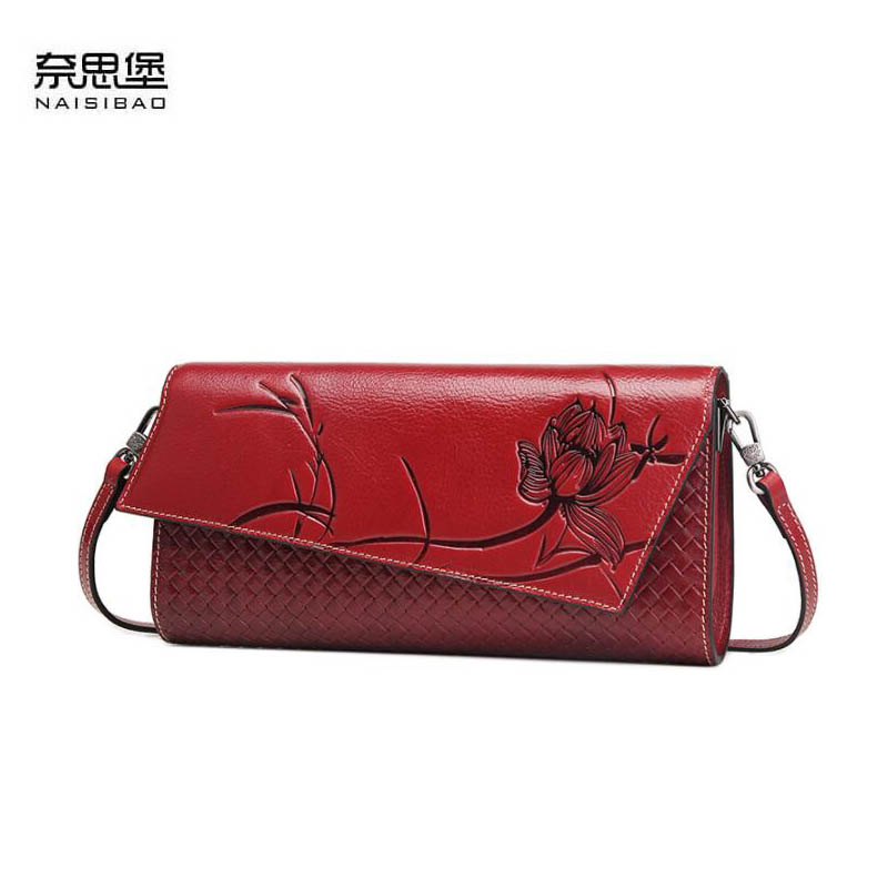 NAiSIBAO 2018 New top Cowhide women genuine Leather bag Embossed fashion clutch bag luxury designer women leather shoulder bag