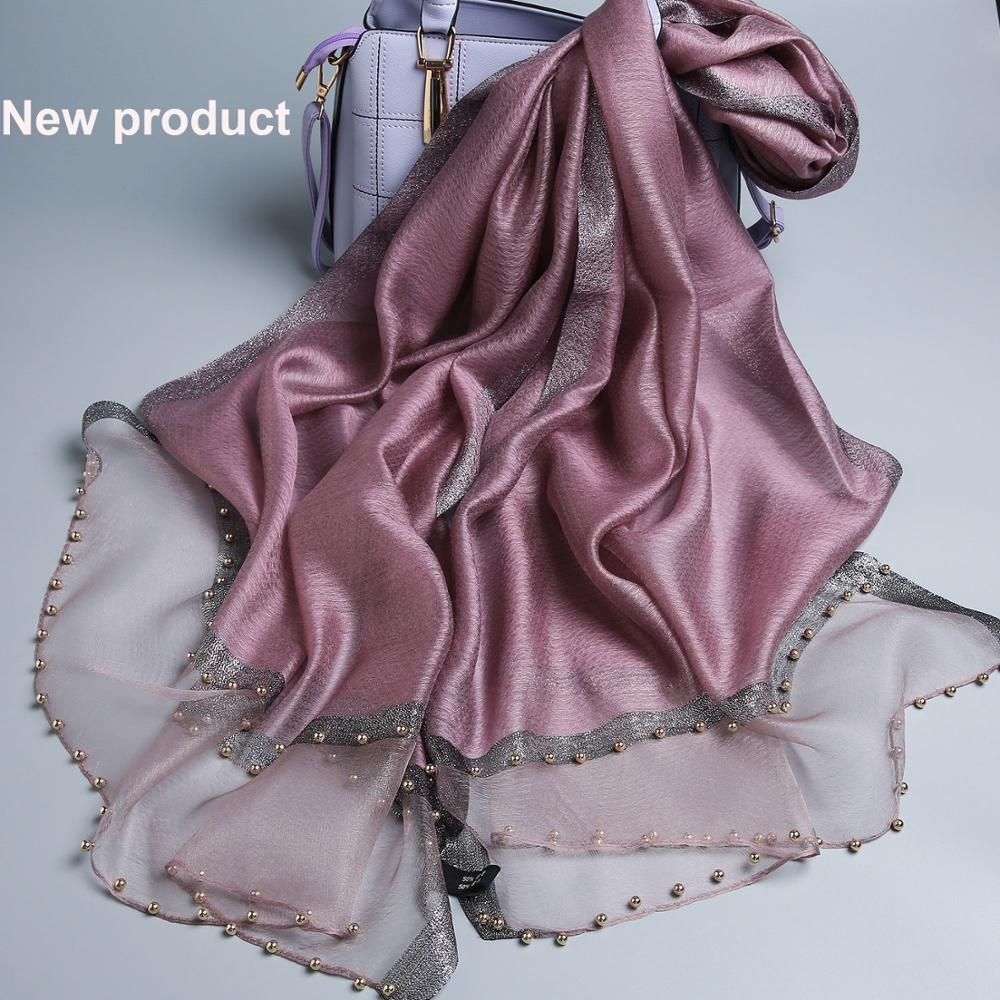 Luxury brand women   scarf   luxury summer silk   scarves   lady shawl   wrap   hijab foulard female bandana pashmina Pearl jewel headband