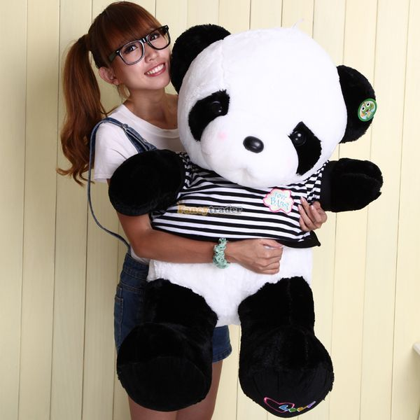 Fancytrader Big 100cm Fluffy Stuffed Panda Plush Toy White Cute Panda Doll with Tshirt for Kids Gift Free Shipping stuffed animal toy store panda plush panda kids toys cute football panda doll baby gifts