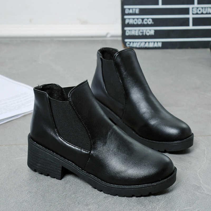 2019 Kadın Botları Moda Yuvarlak Ayak su geçirmez PU Deri Sıcak Siyah Ayak Bileği Kadın Çizmeler sonbahar Ayakkabı Yüksek Kalite Sapato Feminino