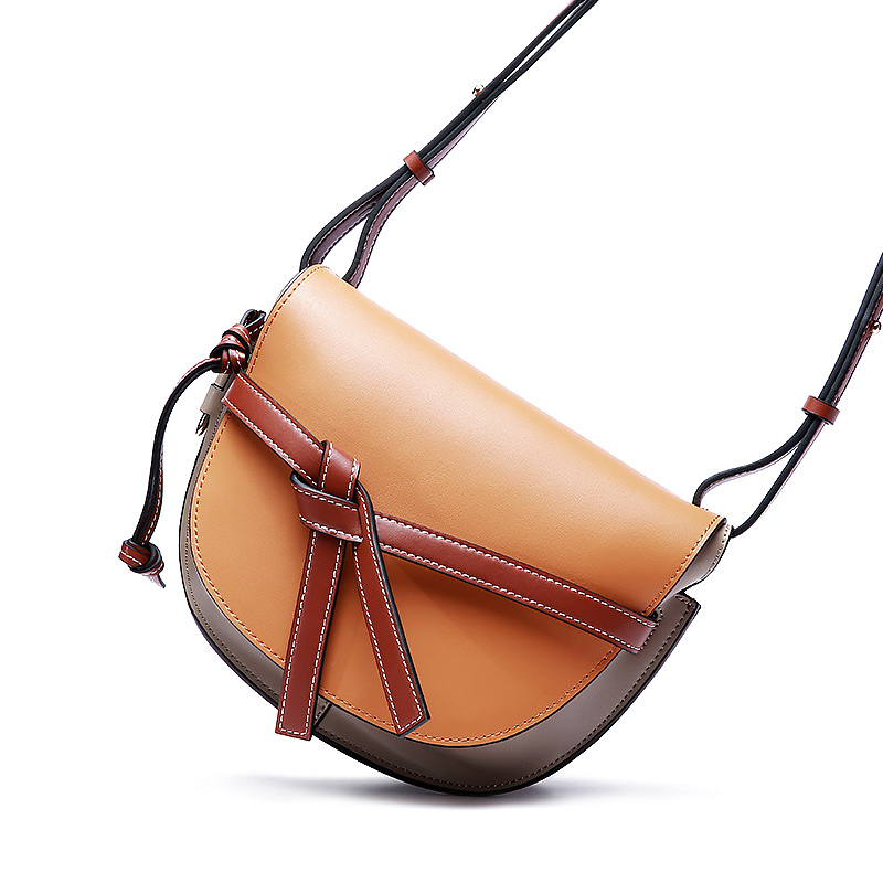 Luxury Genuine Leather Bags Vintage European Contrast Stitching Crossbody Bag Women Famous Brands Women Messenger Bags цена