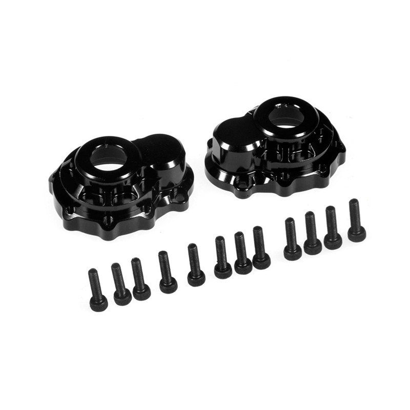 2 Pairs Metal Alloy Front/Rear Parts/Steering Hub Case Carrier Outter Cover for 1/10 RC Car Traxxas TRX-4 TRX4 Black 17pcs led front rear lights ic lamp group headlight kit for traxxas trx4 rc car parts diy replacement repair accessories