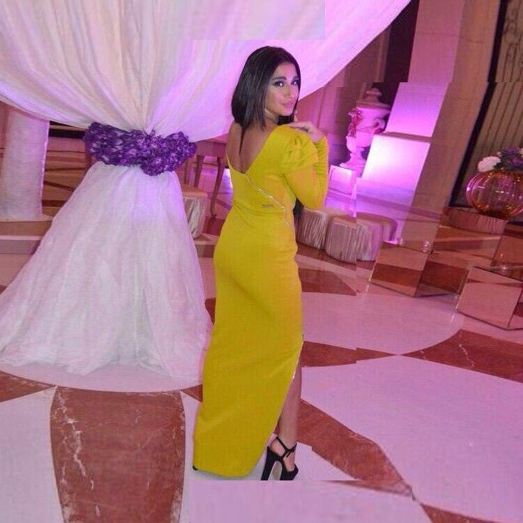 Elegant Long Full Sleeves O Neck Vestido De Festa Sheath Satin Evening Gown Side Slit Floor Length Mother Of The Bride Dresses