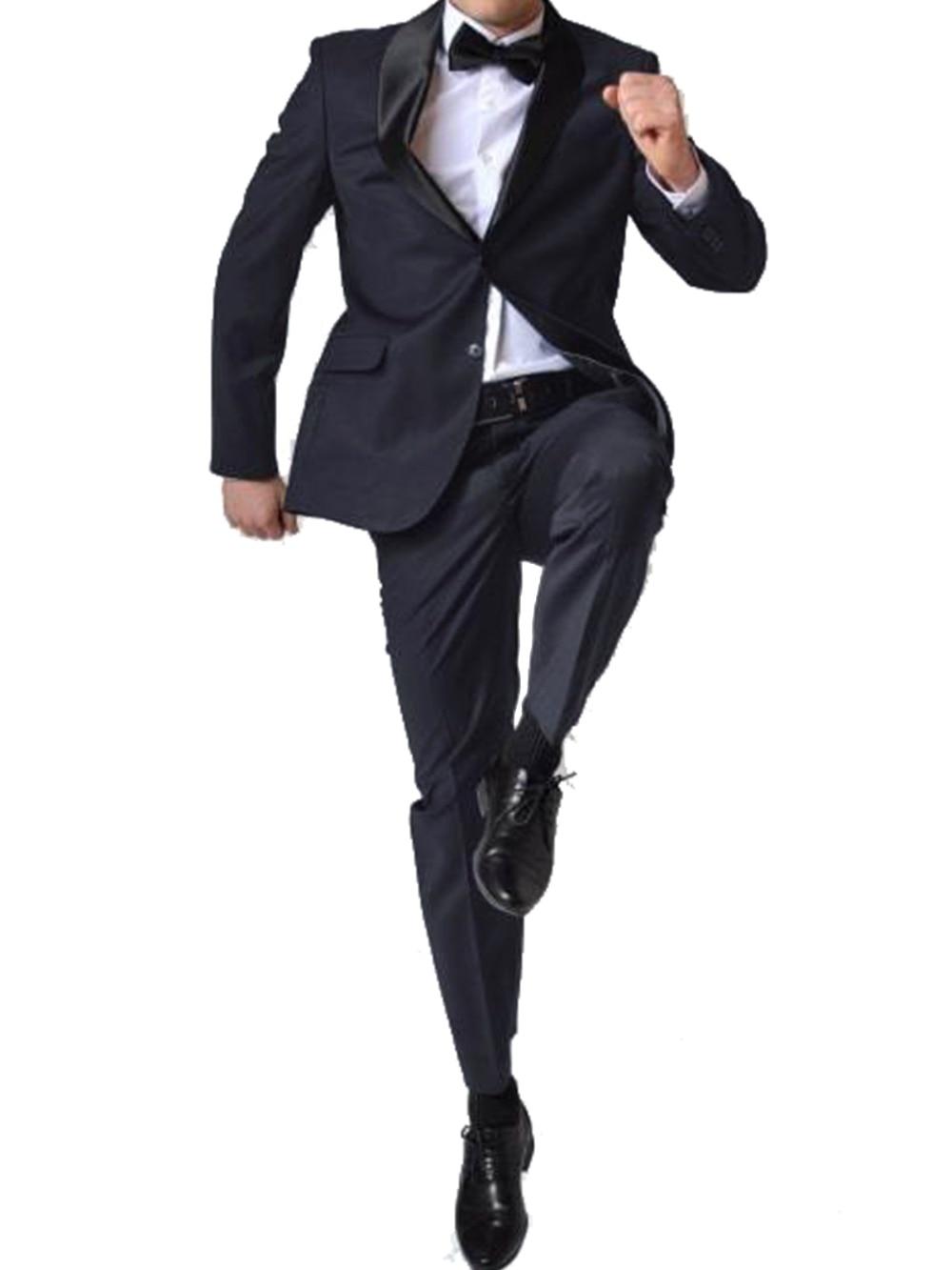 Erkek Kıyafeti'ten T. Elbise'de Lacivert Ipek Yün Karışımı Düğün Smokin Erkekler Için, Terzi Damat Smokin Rahat Dans Için, doğal Parlatıcı Ipek'da  Grup 1
