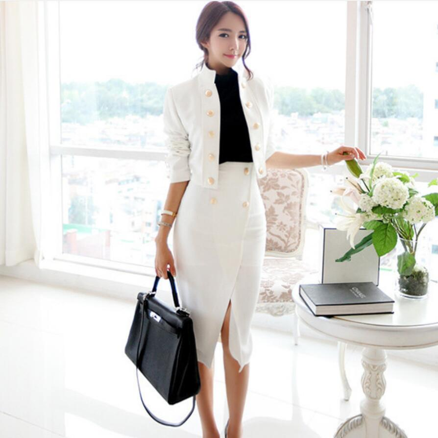 LXUNYI Autumn Korean Short Slim White Blazer Feminino 2018 Long Sleeve Casual Office Blazers Women Elegant Double Breasted Coat