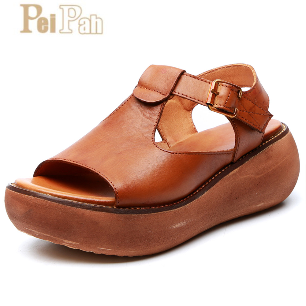 PEIPAH 2019 Summer Handmade Genuine Leather Womens Sandals Casual Open Toe Femme Shoes Solid Wild Thick Bottom Zapatillas MujerPEIPAH 2019 Summer Handmade Genuine Leather Womens Sandals Casual Open Toe Femme Shoes Solid Wild Thick Bottom Zapatillas Mujer