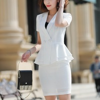 Summer Formal Skirt Suit 2 Pieces Set Women Short Sleeve Notched Jacket Blazer Skirt Suit Business Office Suit Clothing 808855
