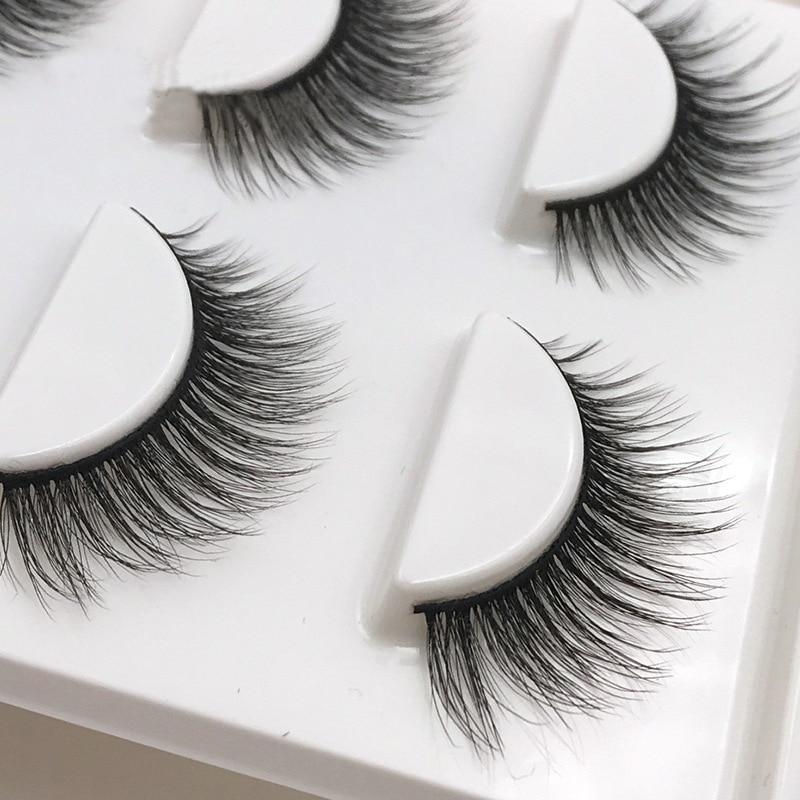 New 3 pairs natural false eyelashes fake lashes long makeup 3d mink lashes extension eyelash mink eyelashes for beauty X11