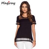 Magiray Tulle Patchwork T Shirt Women Loose Tee Shirt Femme Summer 2017 Fashion See Through Short