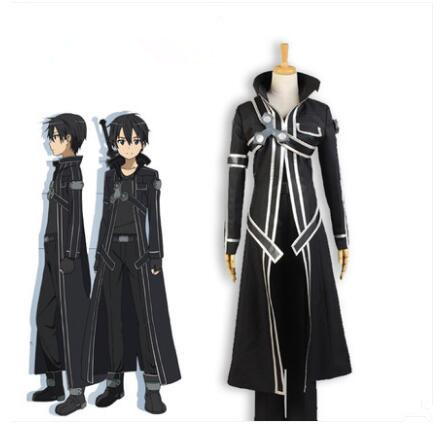 Japanese Anime Cosplay Sword Art Online Kirito Cosplay Costume Set for Men BLACK