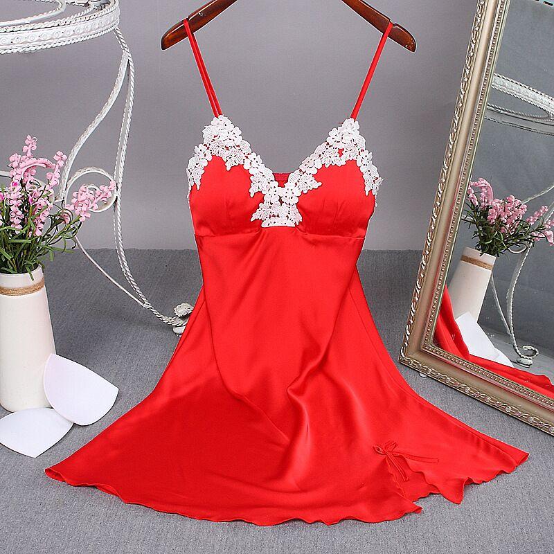 Sexy Red Women Mini Robe Nightwear Nightdress Nighty Nightgown Suspender Skirt Sleepwear Rayon Sleeveless For Female M-XXL
