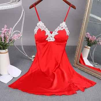 Sexy Red Women Mini Robe Nightwear Nightdress Nighty Nightgown Suspender Skirt Sleepwear Rayon Sleeveless For Female M-XXL - DISCOUNT ITEM  48% OFF All Category