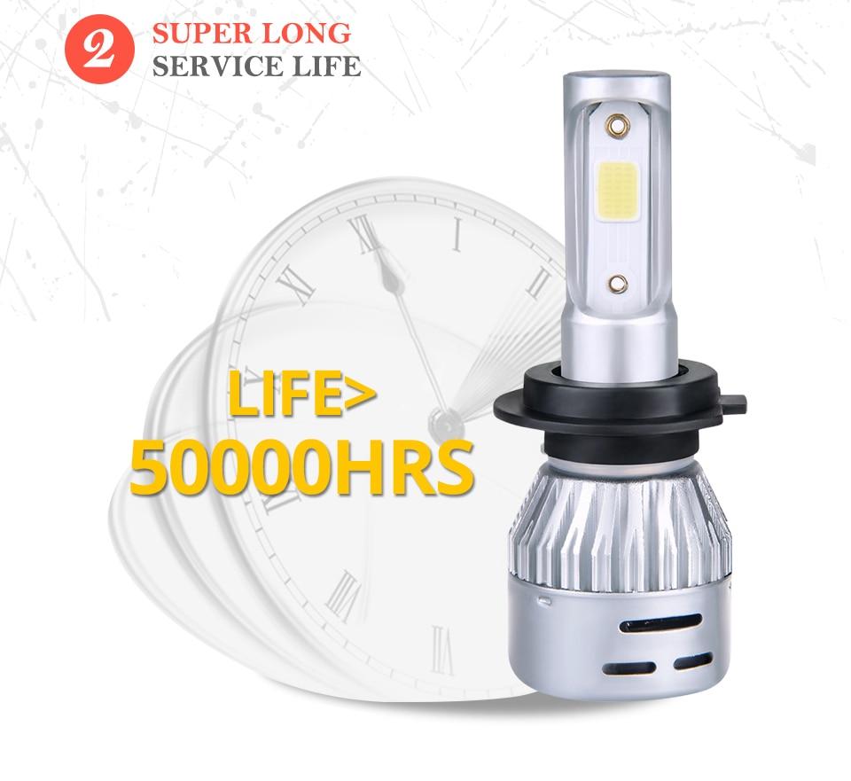 Aceersun H4 LED H7 H1 H11 H8 H9 9005 HB3 HB4 9006 Mini Car headlight 72W 8000LM COB 3000K 4300K 6500K 8000K Hi Lo Beam 12V 24V (10)