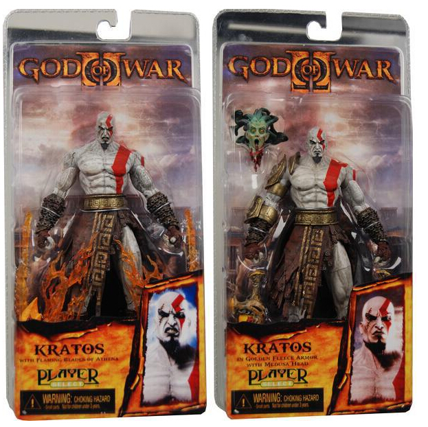 New 1pcs NECA God of War Kratos in Golden Fleece Armor with Medusa Head PVC Action Figure Collection Model Toys