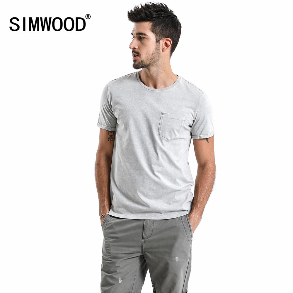 SIMWOOD 2019 Summer New Acid Wash T-Shirt Men Vintage Tshirt High Quality 100% Cotton Hip Hop T Shirt Tops TD017108