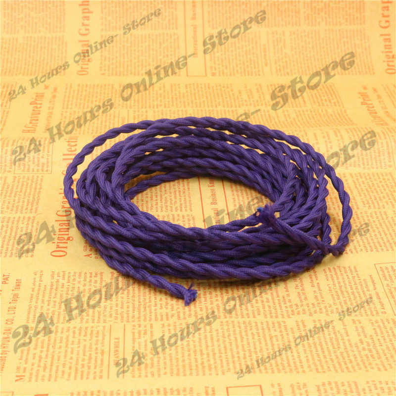 Фиолетовый цвет-5 м/лот 2x0,75 винтажная веревочная проволока витой кабель ретро Электрический провод с оплеткой тканевый провод DIY подвесная Проводная лампа