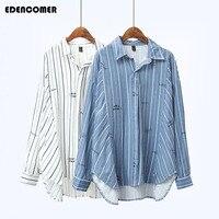Plus Size Women Shirts 2018 Spring New Korean Loose White Stripe Printing Letter Irregular Female Shirt