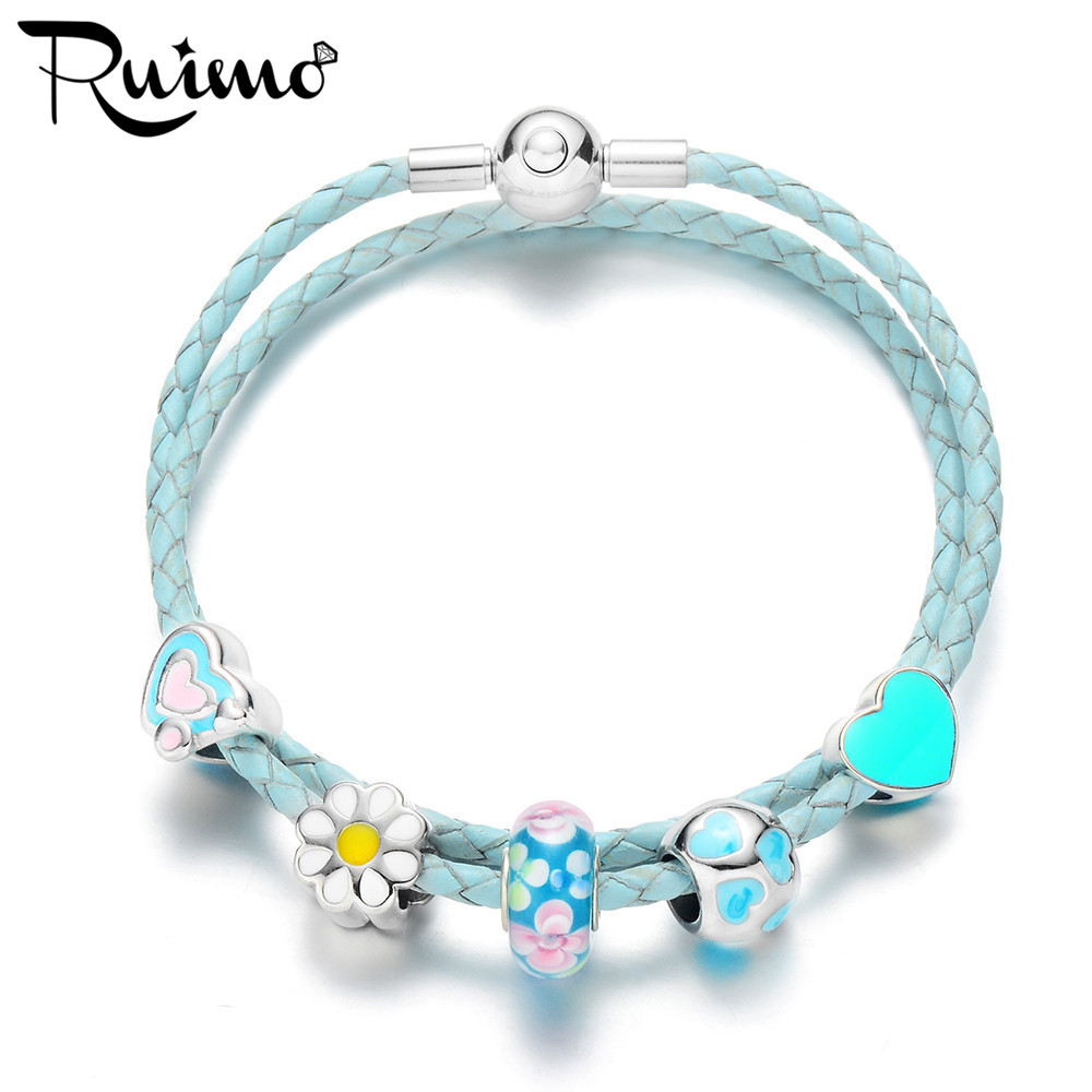 RUIMO Light Blue Genuine Leather Braided Women Charm ...