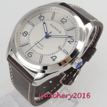 42mm PARNIS White Dial Sapphire Glass Date Polished Case 24 Jewels Miyota NH35 Automatic Movement mens Mechanical Wristwatches