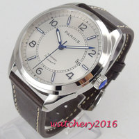 42mm PARNIS White Dial Sapphire Glass Date Polished Case 24 Jewels Miyota NH35 Automatic Movement men's Mechanical Wristwatches