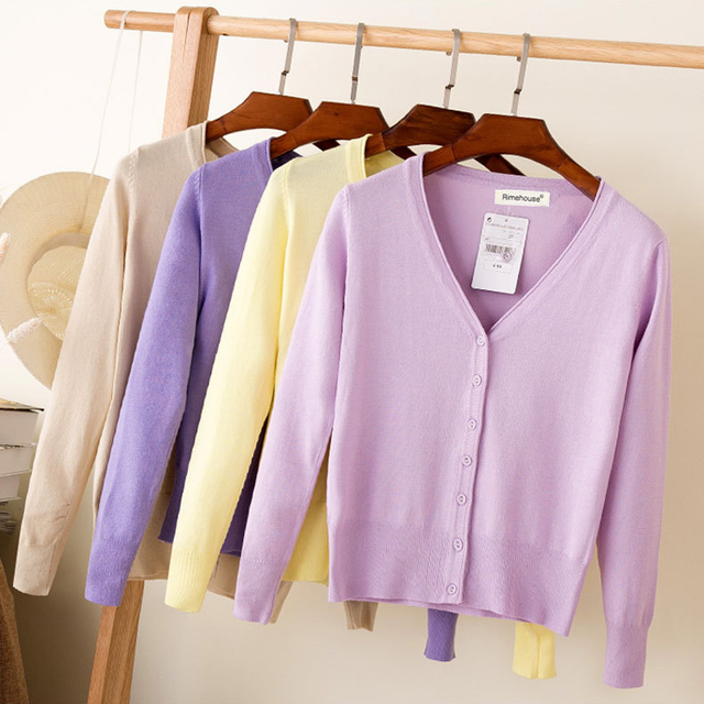 Queechalle 28 Colors knitted cardigans spring autumn cardigan women casual long sleeve tops V neck solid women sweater coat 5