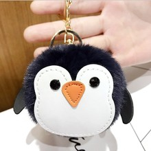 6cm penguin pompom keychain good gift for teacher boy pants chain iron fluffy keyrings bangtan pretty key accessories