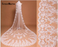 3 Meters Long Bridal Veil for Wedding One Layer Lace 3D Flowers Cathedral Wedding Veils White Ivory with Comb