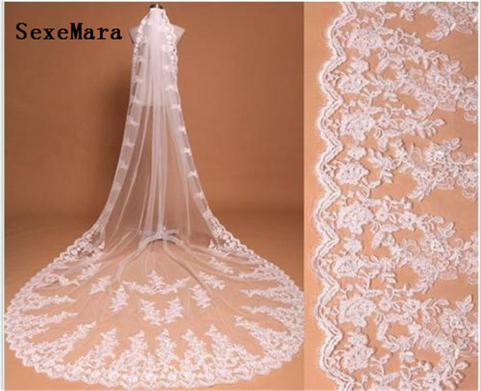 New Coming Long Bridal Veil Lace Appliques One Layer  Cathedral Wedding Veils With Free Metal Or Plastic Comb Cheap Price