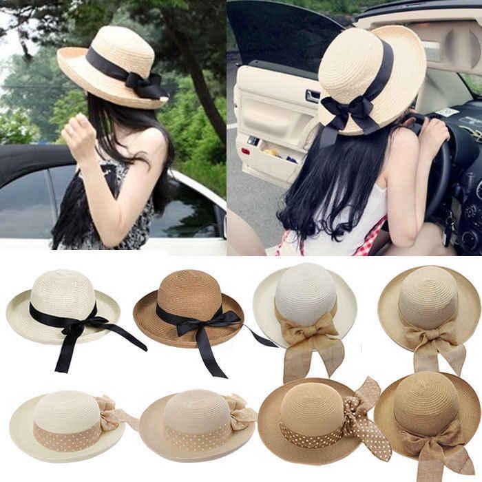 Caliente nueva moda verano casual mujeres señoras BRIM playa Sol elegante sombrero  paja casquillo flojo de 33acb87de32
