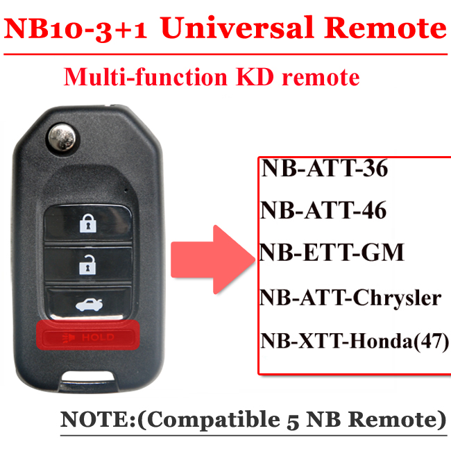 Free shipping (5cs/lot))NB10 Universal Multi-functional kd remote 3+1 button NB series key for KD900 URG200 remote Master