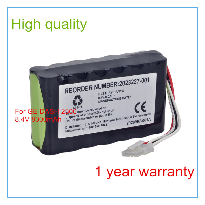 Replacement For DASH 2500 Ecg Machines 2023852-029 2023227-001 N1082 AMED2250 2028967-001A 8AH NIMH Medical equipment battery replacement for ecg machines fx 7402 8 hry 4 3afd ekg machines biomedical medical battery