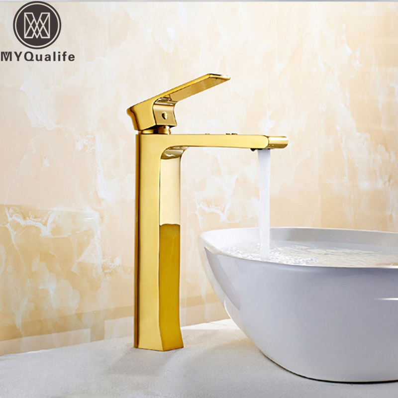luxury golden bathroom vessel sink faucet single lever. Black Bedroom Furniture Sets. Home Design Ideas