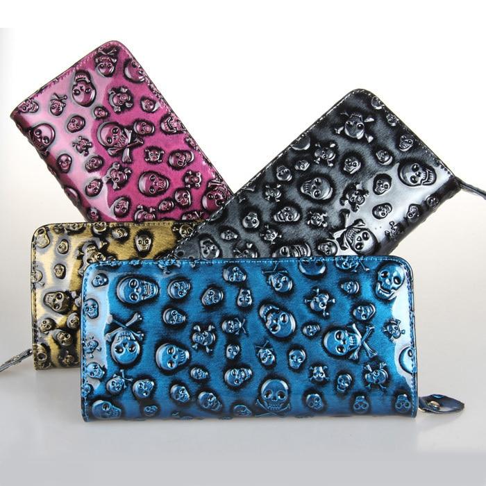 European Style Vogue Women Wallet Skull Pattern Leather Clutch Superfine Money Purse Lady Punk Carteira Card Holder Free Shiping