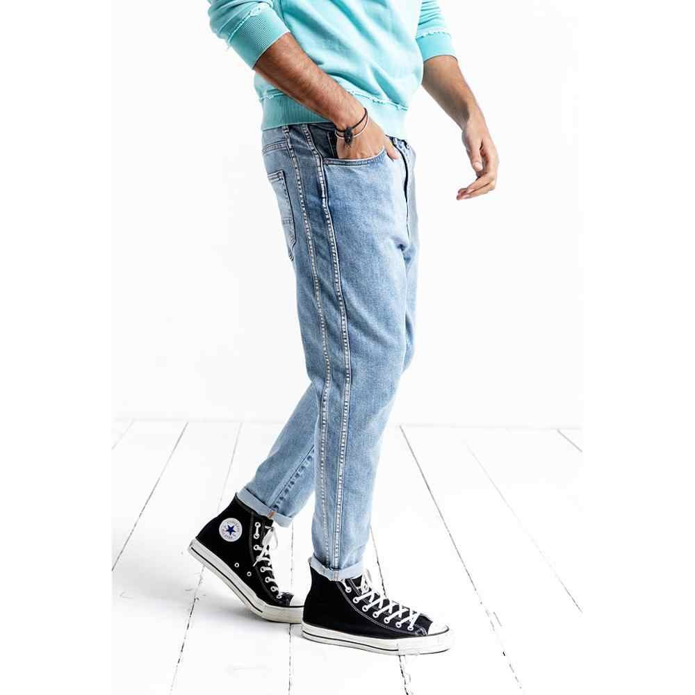 SIMWOOD 2019 autumn winter New Jeans Men Side Striped Slim Fit Jeans Fashion High Quality Ankle-Length Denim Trousers 190033
