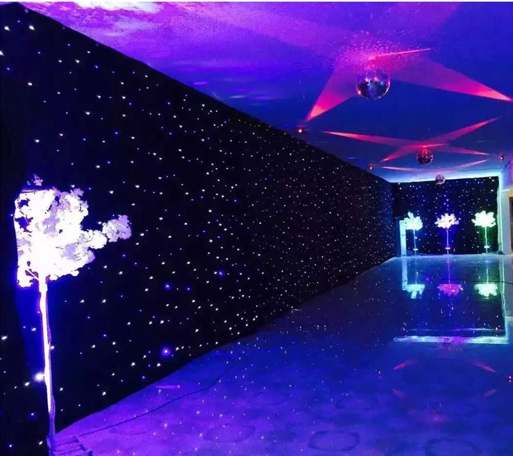 Bleu + Blanc LED Scène Drapé Tissu D'étoile Rideau Toile De Fond D'écran avec Le Contrôleur pour la Fête De Noël De Mariage Personnalisé